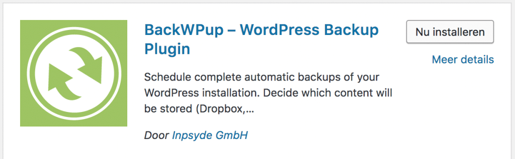 BackWPup activeren