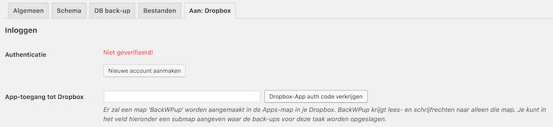 Dropbox toegang instellen backwpup
