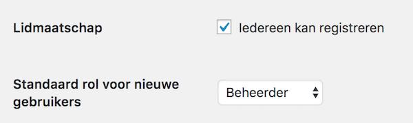 registratie nieuwe gebruiker WordPress