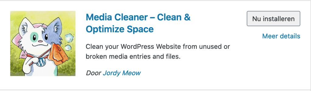 Installeren plugin Media Cleaner