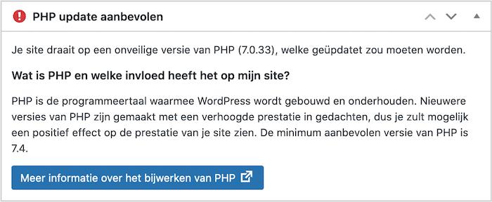 Je maakt gebruik van een verouderde versie van PHP