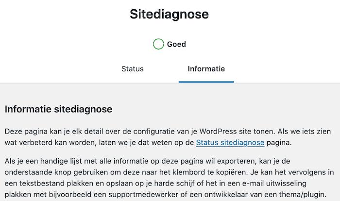 Sitediagnose WordPress Informatie